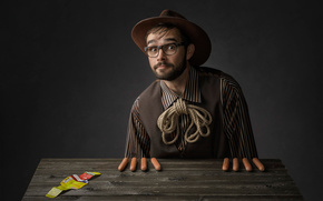 sausages, portrait, glasses