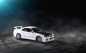 белый, Nissan, ниссан, скайлайн