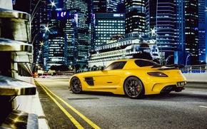 stradale, giallo, Supercar, Mercedes, Benz, Mercedes