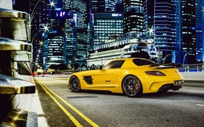 Supercar, Mercedes, amarelo, Benz, estrada
