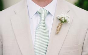 Flowers, groom, tie, suit