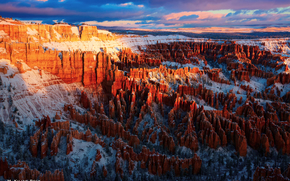the first rays, Bryce Canyon National Park, USA, morning, light, sky, Rocks, clouds
