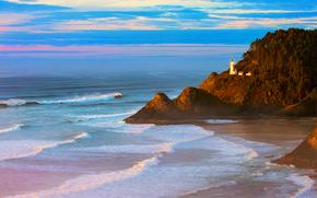 скалы, лес, море, закат, маяк, вечер, волны, США, Орегон, Тихий океан, пляж
