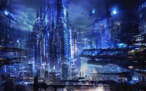 fantasy, Art, city, transportation, future