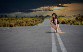 menina, NUVENS, estrada, pointes, céu, bailarina