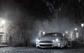 машина, фонари, Астон Мартин, купе, улица, освещение, Aston Martin, автомобиль, спорткар, город, ночь