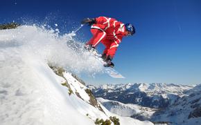 сноуборд, спорт, горы, прыжок, снег, небо