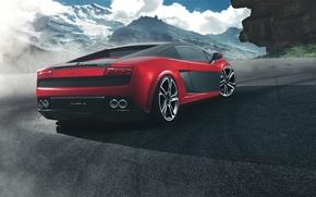 ламборджини, Lamborghini, красный, горы, галлардо