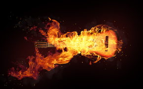 black, fire, guitar