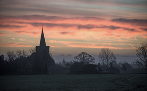 temple, village, clouds, church, DAWN, trees, glade, sky, nature, morning