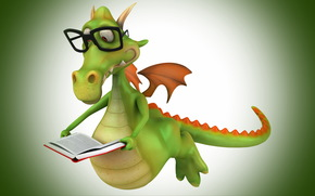 book, wings, glasses, crocodile, reading