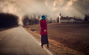 церковь, дорога, обочина, шляпка, девушка, размытие, пашня