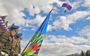 clouds, sky, day of Airborne, Berets, Parachutists, flag