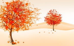 drawing, wind, autumn, foliage, trees
