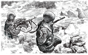 painting, field, SPIRITS, morning, Afghan war, ensued, brutalized, soldiers, Art, through, from, resistance, perseverance, to attack, fight, back, pencil, Airborne, our, discarded, in the gorge, USSR., soldier, Marines, cliff, rushed