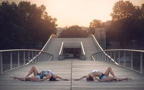 ginastas, ponte, graça, Costumes, cidade