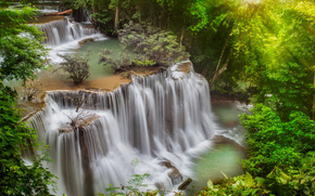 cascade, FLOW, jungle, processing, stones, forest, trees, waterfall, river, Thailand