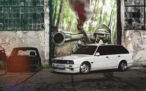 Blanc, BMW, Biens, BMW, graffiti