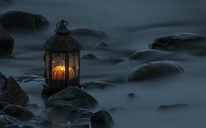 lantern, stones, vseti, evening, exposure, water