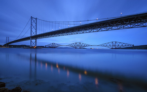 Шотландия, синее, мост, река, вечер, Великобритания, небо, Форт-Бридж