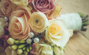 bouquet, wedding, Flowers, Roses