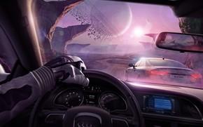 droga, Asteroids, ręka, Planeta, Rocks, salon, maszyny, Wyścig