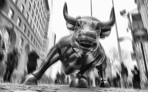 USA, Financial District, Wall Street, bull, bw, New York