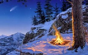горы, костер, вечер, снег