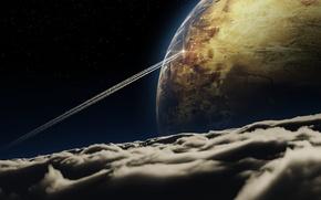 космический корабль, Космос, след, планеты, облака