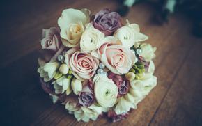 wedding, bouquet, Roses