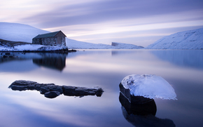cabin, ice, lilac, water, Faroe Islands, floe, Faroe Islands, snow, sky, smooth surface, lake
