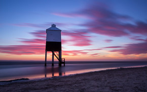 sea, sunset, shore, lighthouse, sand, England, calm, clouds, evening, United Kingdom, sky