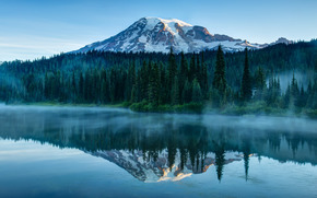 fog, river, blue, stratovolcano, smooth surface, reflection, water, forest, national park, USA, Rainier, nature, trees, sky, Washington, mountain