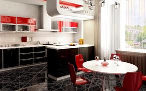 бокал, стол, студия, окно, стулья, кухня
