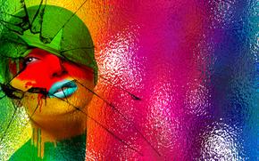губы, стекло, девушка, стиль, абстракция, цвет, лицо