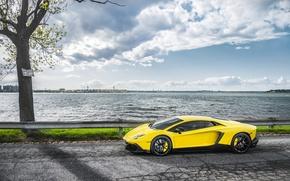 mar, estrada, Supercar, Lamborghini