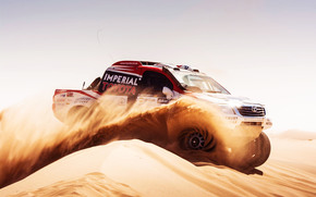 dune, Sport, SUV, sand, Race, Dakar, Rally, speed, Car, Side view, Toyota, Day