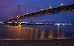 мост, огни, освещение, Великобритания, ночь, синее, фиолетовое, река, Шотландия, небо, Форт-Бридж