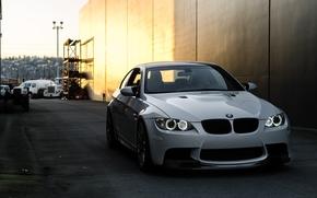 ciel, réflexion, blanc, BMW, Lane, vue de face, BMW, lumières
