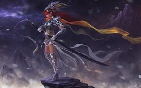 скала, меч, арт, девушка, фэнтези, горы