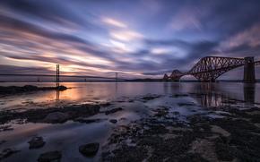 Форт-Бридж, облака, Великобритания, мост, Шотландия, небо, река, вечер