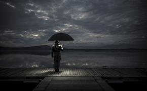 причал, ожидание, зонт, мужчина