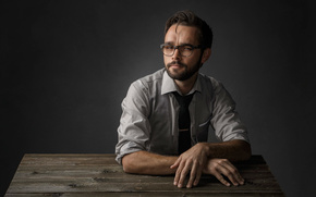 glasses, portrait, studio
