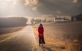 road, autumn, coat, girl, cap, expectation