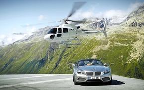 Скалы, Вертолет, БМВ, Кабриолет, BMW, Белый, Серый, Передок, Горы