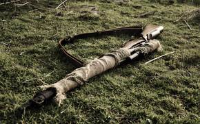 Sniper, weapon, Lee-Enfield, rifle, grass, belt