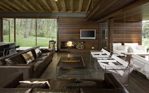 TV, Sofas, furniture, interior, fireplace, krksla