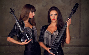 rock, Girls, Brunette, dolls, violin, cello, guitar, Spikes, violin group dolls, electric violin, Violinist