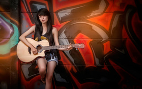 wall, graffiti, guitarist, guitar
