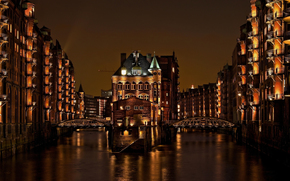 home, Speicherstadt, Germany, channel, light, bridges, building, night, Hamburg, city
